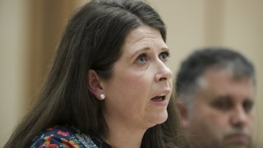 ABC chief financial officer Louise Higgins at Senate estimates on Wednesday night.