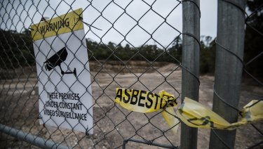The Blue Mountains Council's stockpile site in Lawson where workers were directed to transport asbestos contaminated soil excavated from a nearby car park.