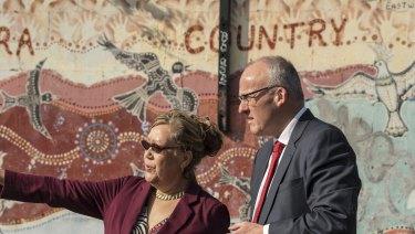 Aunty Norma Ingram with state Opposition Leader Luke Foley in Redfern.