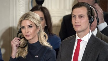 Russia probe: Robert Mueller's investigation is said to also be looking into the financial dealings of Donald Trump's son-in-law, Jared Kushner, pictured here with Ivanka trump.