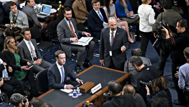 Facebook CEO Mark Zuckerberg testifying before a joint hearing of the Commerce and Judiciary Committees.