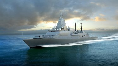 A 3D rendering of BAE Systems' Global Combat Ship Australia (GCS-A).