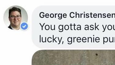 George Christensen's Facebook post.