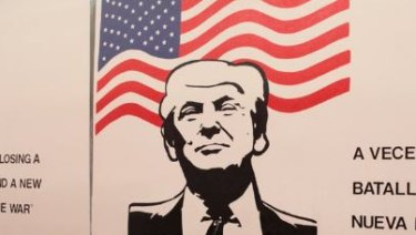 A mural depicting US President Donald Trump.