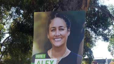 Greens campaign posters screwed into trees on Clarendon Street, Thornbury.