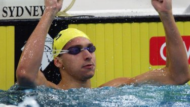 Ian Thorpe after breaking the world record in the 200m freestyle.