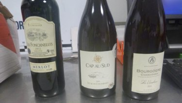 Wine bottles used as decoys in the drug importations.