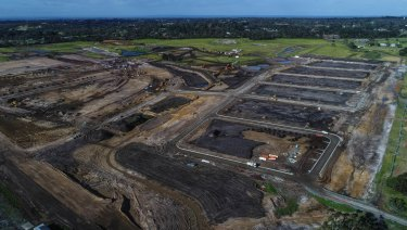 The former Brompton Lodge farmland now under development in Cranbourne South.