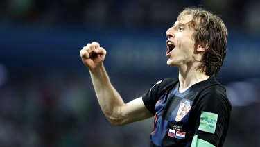 Croatia's Luka Modric celebrates after winning the quarterfinal.