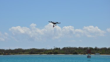 A Telstra drone operates near the telco's 5G Innovation Centre on the Gold Coast.