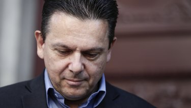 Nick Xenophon speaks the media on Sunday.