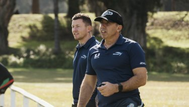 Where to now?: Former NRL star Todd Carney with renowned sprint coach Roger Fabri.