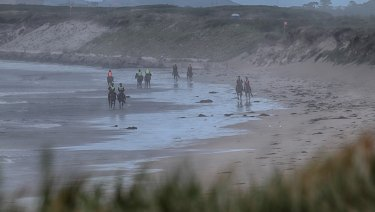 Racehorse trainers on Golfies Beach, near Port Fairy.