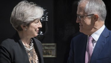 Bilateral talks: British PM Theresa May with Prime Malcolm Turnbull in London last year.