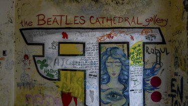Inside an abandoned building known as the Beatles Cathedral, at the ashram, formerly run by Maharishi Mahesh Yogi.
