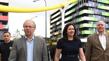Commonwealth Games chairman Peter Beattie, Premier Annastacia Palaszczuk and GOLDOC chief executive Mark Peters.