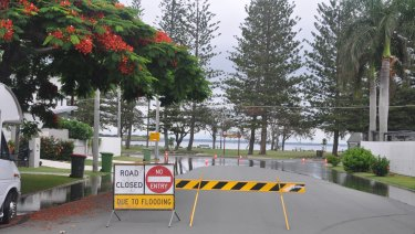 Road closed at Second Avenue and Reef Point Esplanade, Scarborough, at 9.45am January 2 after a king tide.
