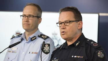 Australian Federal Police Acting Deputy Commissioner National Security Ian McCartney (Left) and Victoria Police acting Deputy Commissioner Ross Guenther brief the media on the incident.