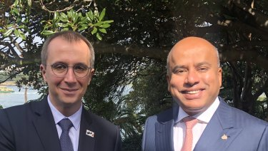"""We believe renewable energy is a game-changer,"" says Neoen CEO Xavier Barbaro, left, pictured with GFG Alliance executive chairman Sanjeeva Gupta."