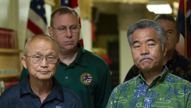 Vern Miyagi, Administrator, HEMA, left, and Hawaii Governor David Ige addressed the media during a press conference at the Hawaii Emergency Management Centre following the false alarm issued of a missile launch on Hawaii.