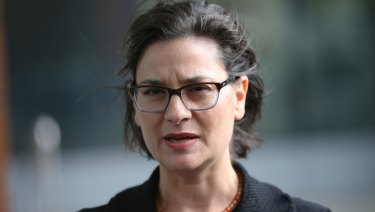 Maurice Blackburn head of social justice Jennifer Kanis outside court on Saturday.