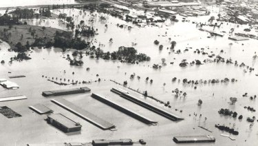 The Rocklea fruit and vegetable markets on Sherwood Road submerged by floods. This picture taken on January 30, 1974.