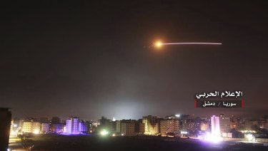 Israeli missiles hit the Syrian air defence system and other military bases, in Damascus, on May 10.