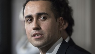 Luigi Di Maio, leader of the Five Star Movement, speaks at a news conference following a meeting with Italy's President Sergio Mattarella at the Quirinale Palace in Rome, Italy.