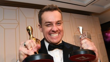 Denyer with his two Logies
