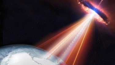 Neutrinos from the jet stream of a black hole have been detected in the South Pole.
