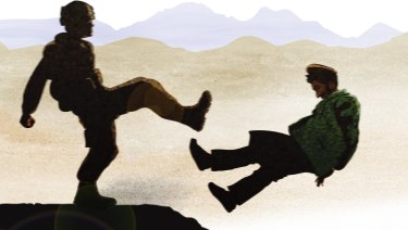 A special forces solider kicks an Afghan prisoner. Illustration by Matt Davidson based on eyewitness account.