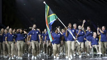 Honour: Semenya was South Africa's flag bearer on the Gold Coast this week.