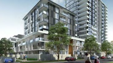 An artist's impression of one of the apartment buildings in Meriton's Pagewood Green residential development.