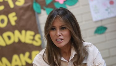 First lady Melania Trump visited an immigration detention facility on Thursday.