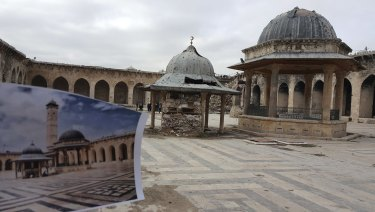 Destruction at the Great Umayyad Mosque, Aleppo, Syria.