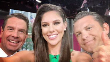 Fox & Friends presenter Abby Huntsman in a selfie posted on her Twitter account to promote the show's coverage of the Trump-Kim summit.