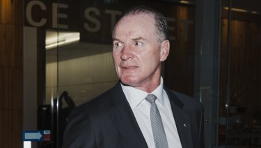 Former Wallabies captain turned Bell Potter managing director Simon Poidevin leaving the Administrative Appeals Tribunal.