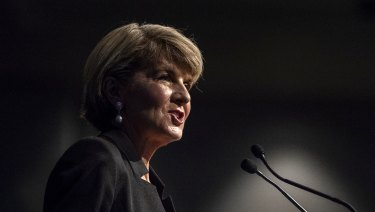 Foreign Minister Julie Bishop on Saturday.