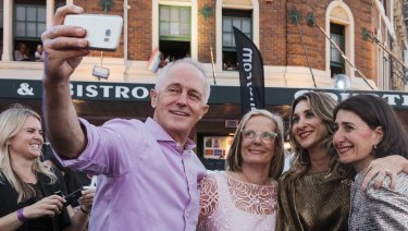 Prime Minister Malcolm Turnbull, wife Lucy Turnbull and NSW Premier Gladys Berejiklian at the Mardi Gras.
