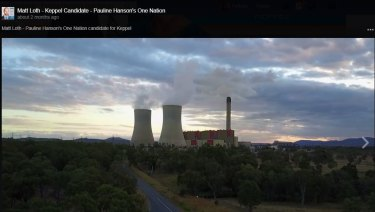 A screenshot from a video posted to One Nation candidate Matt Loth's Facebook page, which appears to show the power station.
