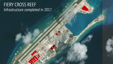 A 2017 satellite image shows Chinese construction work on an atoll in the heavily-contested South China Sea.