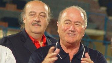 """Peter Hargitay, left, with then FIFA President Sepp Blatter. Hargitay was Blatter s former """"special adviser""""."""
