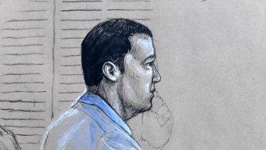 An artist's sketch of Alex McEwan in the court dock.