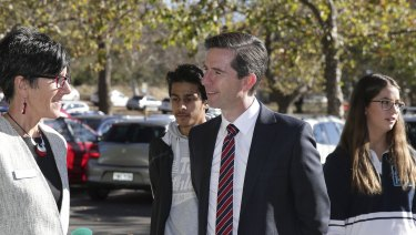 Federal Education Minister Simon Birmingham at Alfred Deakin High School in Canberra on Tuesday.