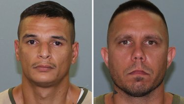 Brian Illington Trent Tapim (left) and Jermaine Lee Anderson (right) who escaped from a prison in central Queensland on Saturday.
