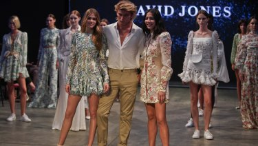 From left: Victoria Lee, Jordan Barrett and Jessica Gomes in the finale of rehearsals for the David Jones autumn-winter parade on Wednesday.