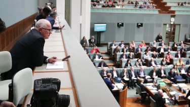 Michael Gordon observing Question Time at Parliament House in Canberra.