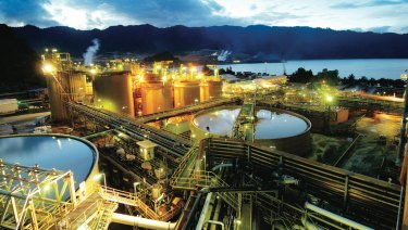 The gold processing plant on Lihir Island in PNG.