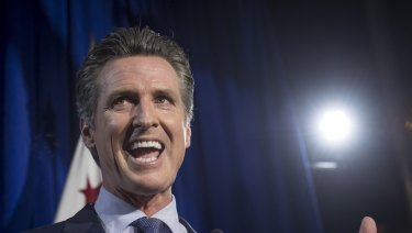 Gavin Newsom, Democratic candidate for governor of California, speaks during a primary election watch party in San Francisco, California.