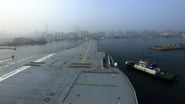 China's aircraft carrier leaves Dalian in northeast China's Liaoning Province.